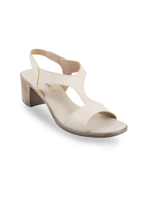 Mochi Women Off-White Solid Sandals