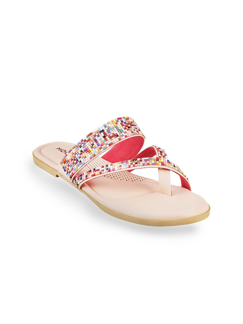 Mochi Women Multicoloured Solid Synthetic One Toe Flats