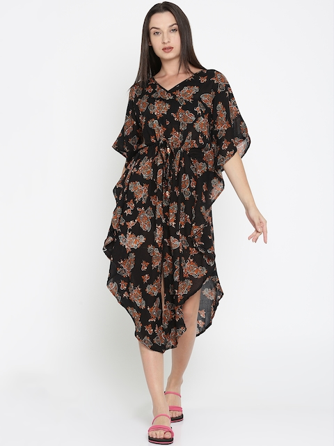 The Kaftan Company Black & Orange Printed Kaftan Cover-Up Dress KR_VS_MAGNET04