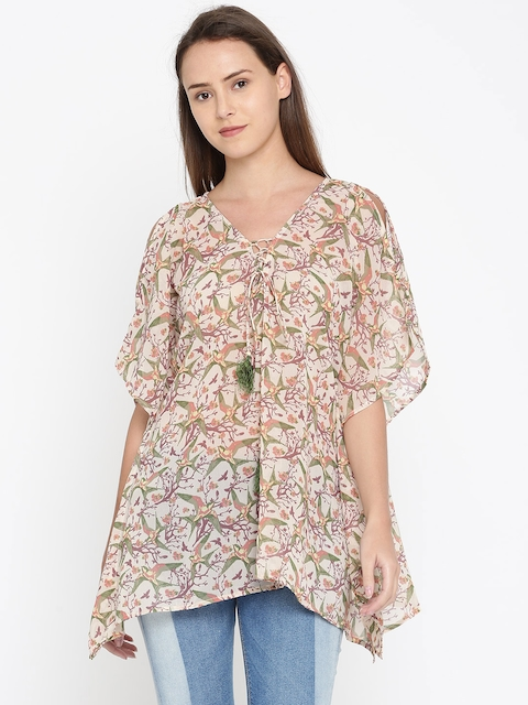 The Kaftan Company Beige Printed Cover-Up Dress TP_PY_VIRAGO02