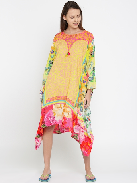 The Kaftan Company Yellow & Pink Floral Print Kaftan Cover-Up Dress TP_VS_ORNAMDP04
