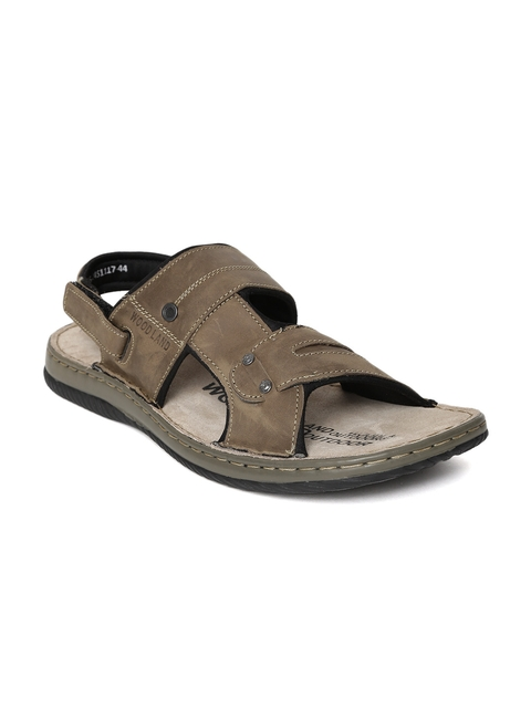 Woodland Men Khaki Leather Outdoor Sandals