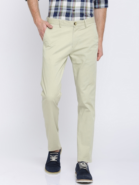 Peter England Casuals Men Beige Super Slim Fit Solid Chinos