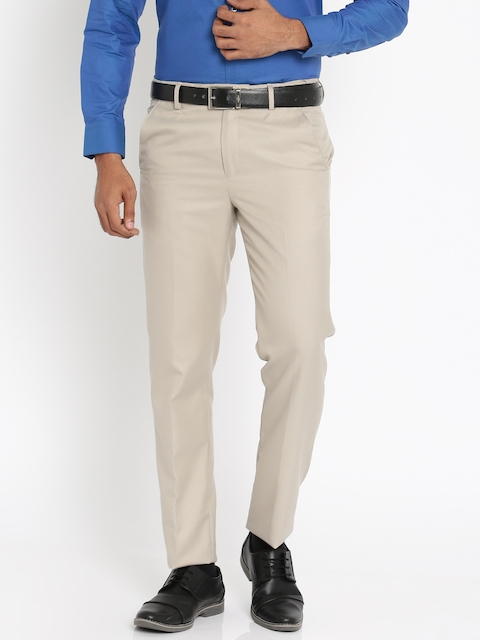 Peter England Men Beige Slim Fit Formal Trousers