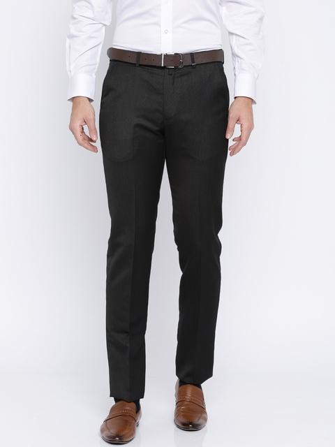 Peter England Men Black Slim Fit Self Design Formal Trousers