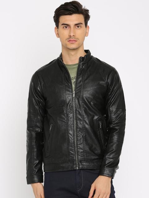 Peter England Casuals Men Black Solid Biker Jacket