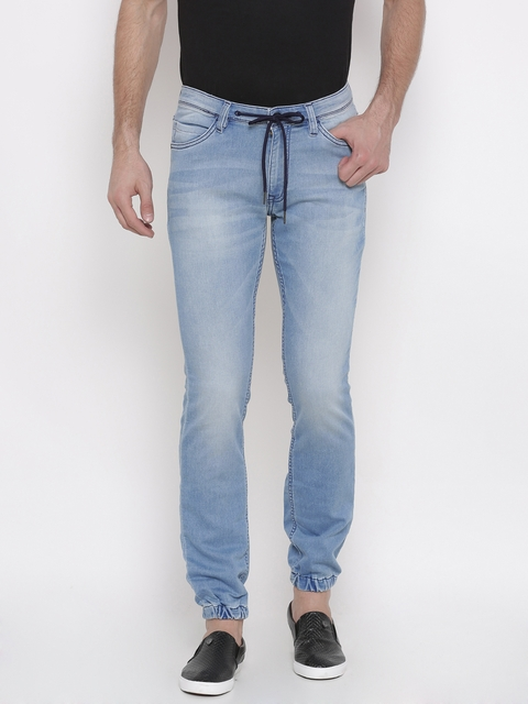 Arrow Blue Jean Co. Men Blue Slim Fit Mid-Rise Clean Look Stretchable Joggers