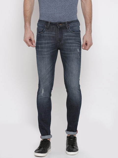 Arrow Blue Jean Co. Men Blue Skinny Fit Mid-Rise Low Distressed Stretchable Jeans