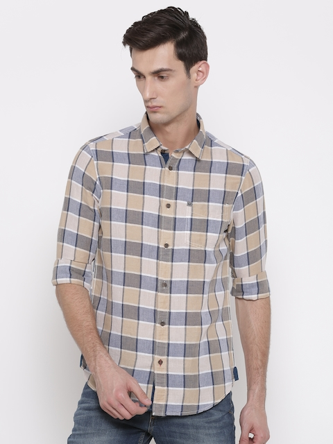 Arrow Blue Jean Co. Men Beige & Navy Blue Slim Fit Checked Casual Shirt