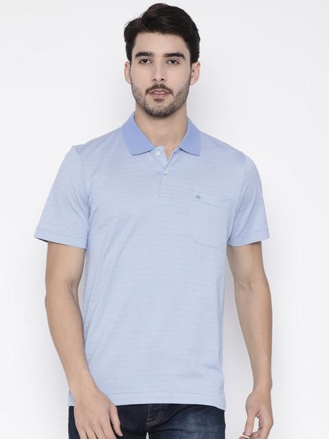 Arrow Men Blue Self Design Polo Collar T-shirt