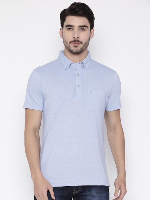 Arrow Men Blue Solid Polo Collar T-shirt