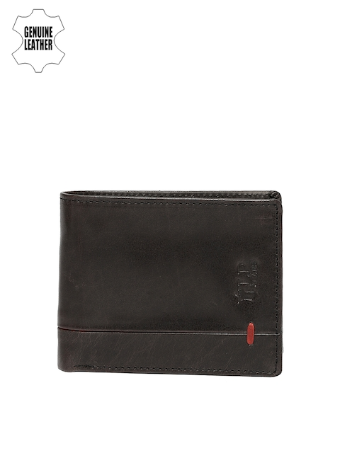 Louis Philippe Men Black Genuine Leather Two Fold Wallet