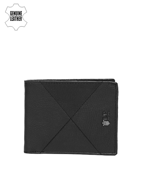 Louis Philippe Men Black Genuine Leather Slim Two Fold Wallet