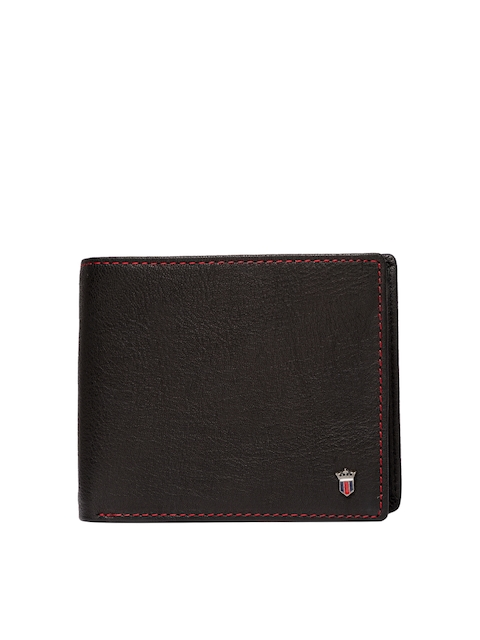Louis Philippe Men Black Solid Two Fold Wallet