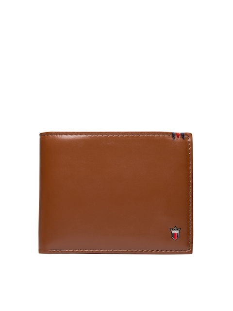 Louis Philippe Men Tan Solid Two Fold Wallet