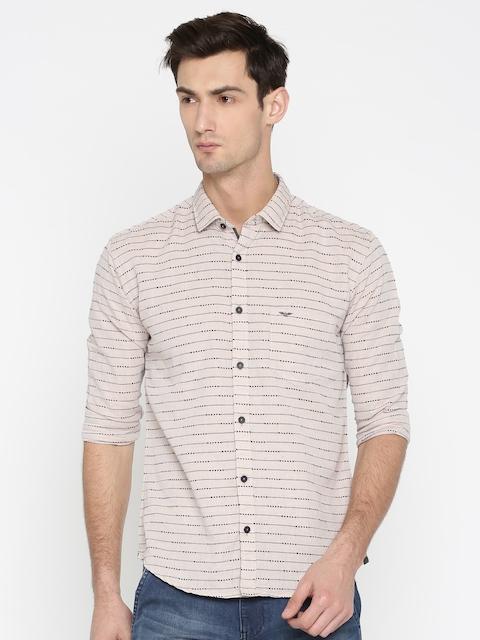 Park Avenue Men Beige Slim Fit Striped Casual Shirt