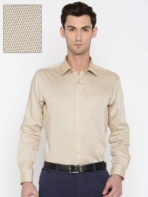 Park Avenue Men Beige & Red Regular Fit Self Design Formal Shirt