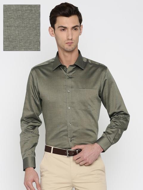 Park Avenue Men Beige Regular Fit Solid Formal Shirt
