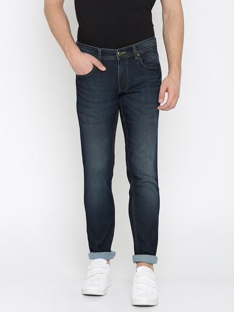 Park Avenue Men Blue Tapered Fit Low-Rise Clean Look Stretchable Jeans