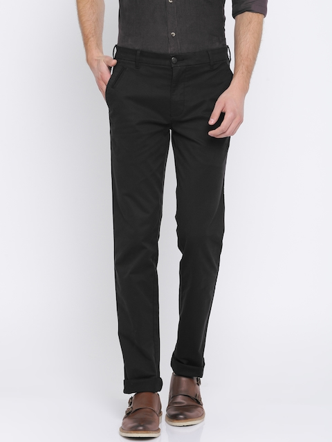 Park Avenue Men Black Tapered Fit Solid Chinos