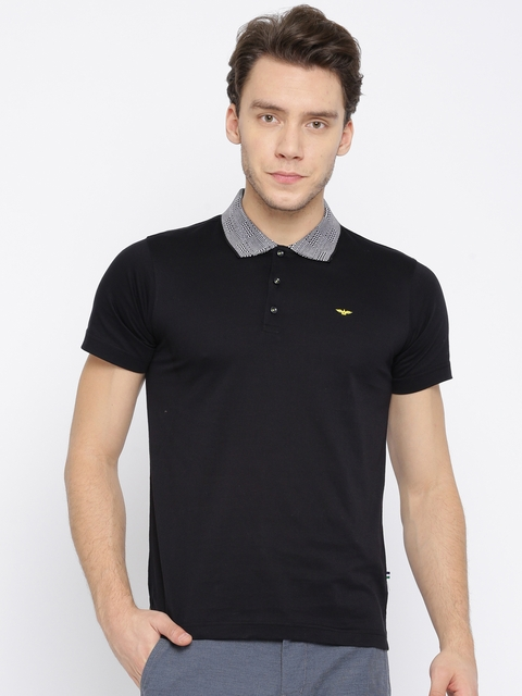 Park Avenue Men Black Solid Polo Collar T-shirt