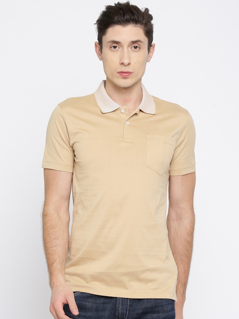 Park Avenue Men Beige Solid Polo Collar T-shirt