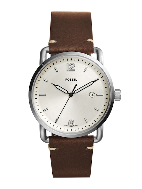 Fossil Men Cream-Coloured & Brown Analogue Watch FS5275
