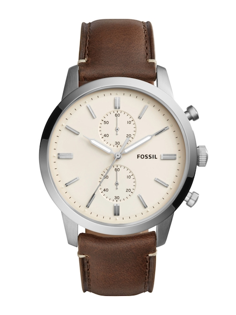 Fossil Men Cream-Coloured & Brown Analogue Watch FS5350