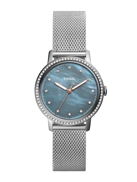 Fossil Women Blue & Silver-Toned Analogue Watch ES4313