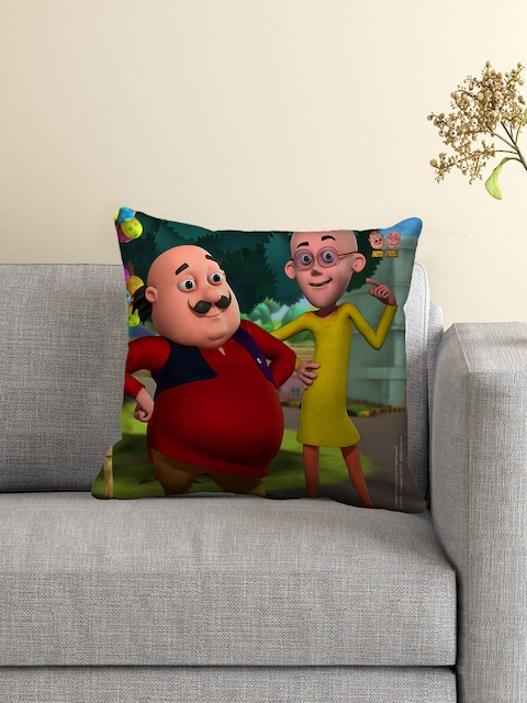 Motu Patlu Kids Green, Red & Yellow Single 16 x 16 Square Cushion with Cover