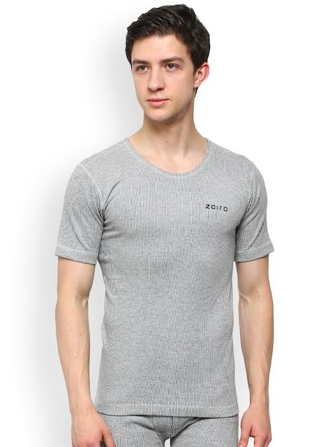 Zoiro Grey Melange Striped Skinny Fit Thermal T-shirt