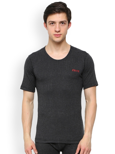Zoiro Black Checked Skinny Fit Thermal T-shirt