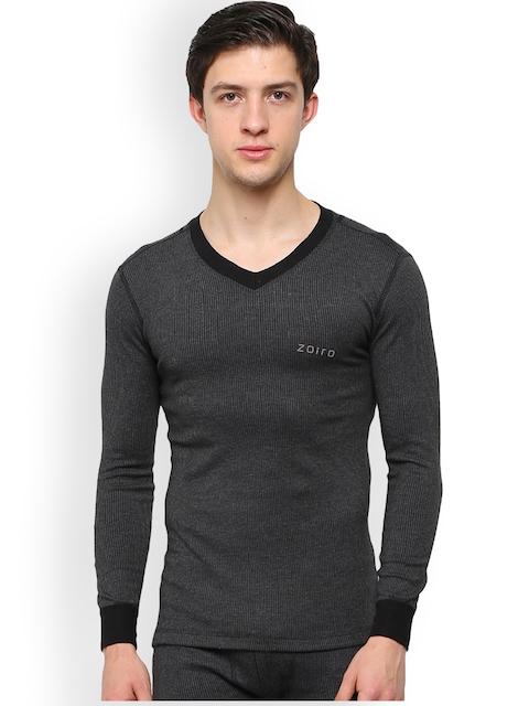 Zoiro Charcoal Grey Striped Skinny Fit Thermal T-shirt