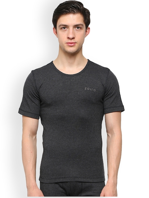 Zoiro Charcoal Grey Striped Skinny Fit Thermal T-shirt