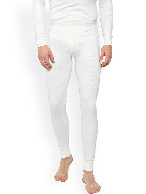 Zoiro White Self-Striped Skinny Fit Thermal Bottoms