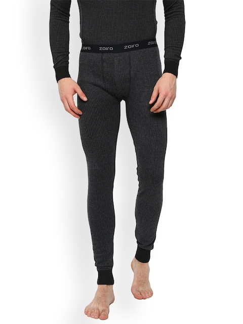 Zoiro Black Checked Skinny Fit Thermal Bottoms