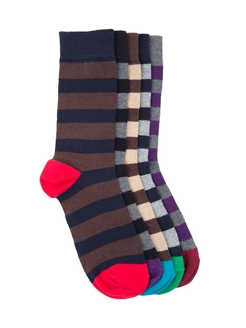 Tossido Men Set of 5 Striped Above Ankle-Length Socks