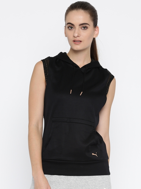 Puma Women Black Solid Explosive Sleeveless Hooded Sweatshirt