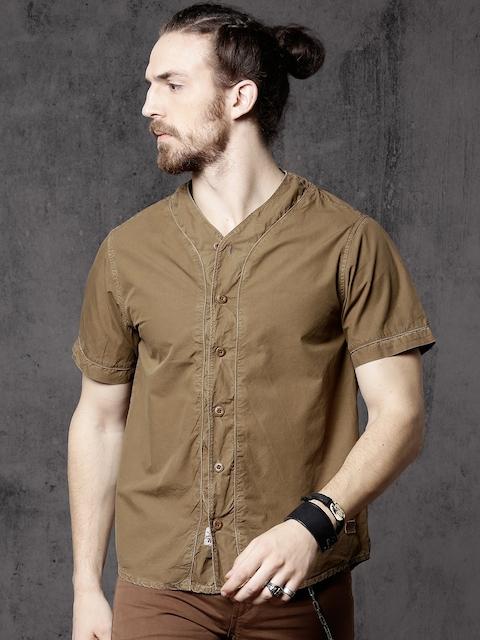 Roadster Men Olive Brown Regular Fit Solid Casual Shirt