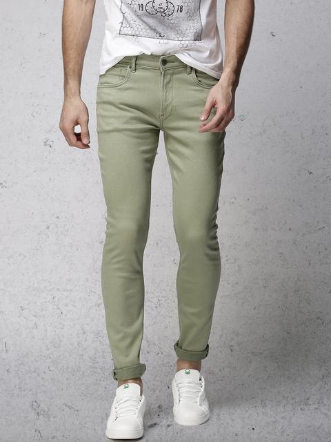 Ecko Unltd Men Green Super Slim Fit Mid-Rise Clean Look Stretchable Jeans