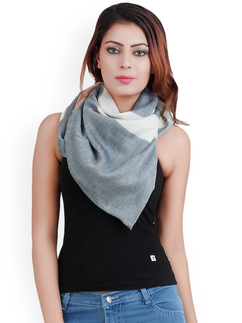 Anekaant Unisex Grey & White Striped Stole