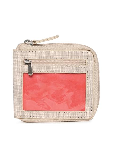Baggit Women Beige Solid Zip Around Wallet