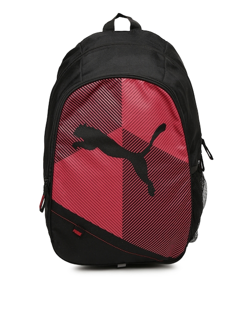Puma Unisex Black & Red Graphic Backpack
