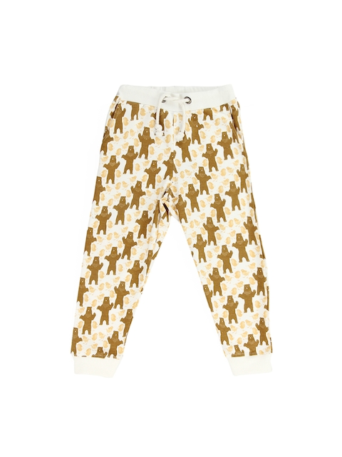 Tickles Boys Off-White & Brown Printed Lounge Pants TIBTS000039A
