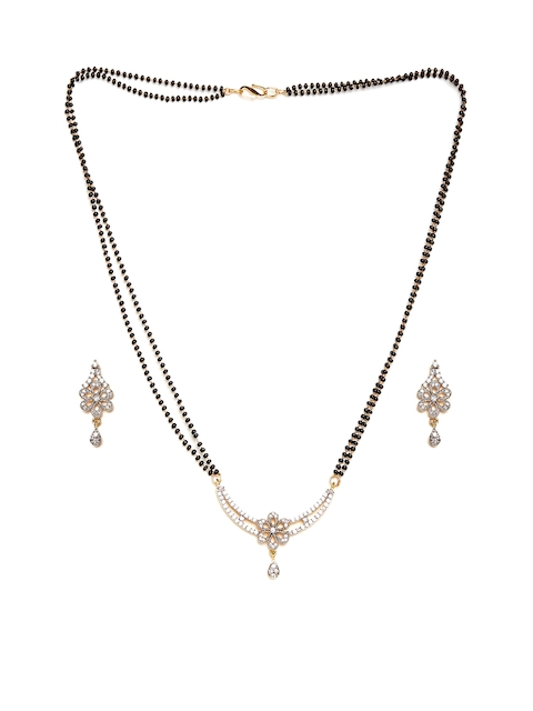 PANASH Gold-Toned Stone-Studded Mangalsutra & Earrings Set