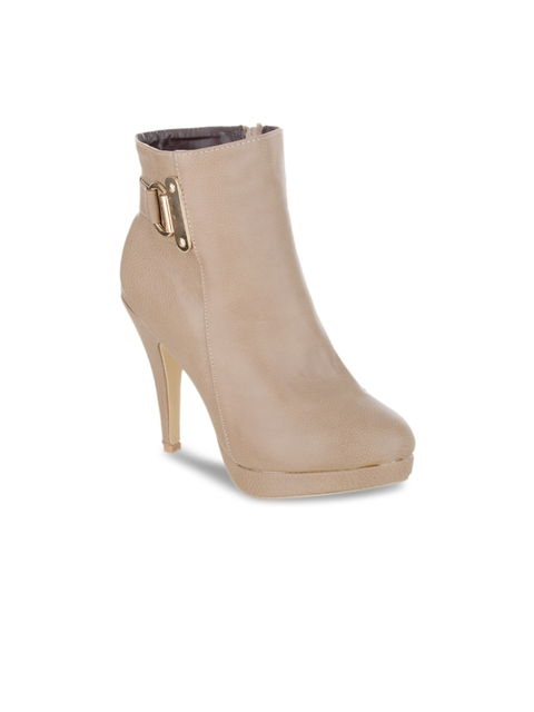 SHUZ TOUCH Women Beige Solid Heeled Boots