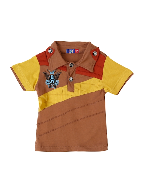 Lilliput Boys Brown Colourblocked Polo Collar T-shirt  available at myntra for Rs.381
