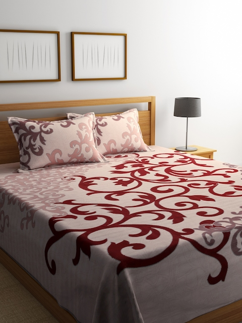 Romee Maroon Polycotton Reversible Double Bed Cover with 2 Pillow Covers