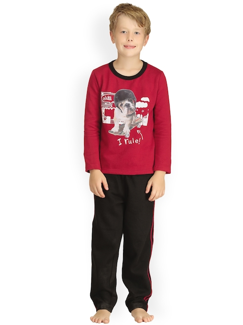 Kanvin Boys Red & Black Printed Night suit