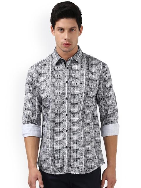 Parx Men Black & White Slim Fit Printed Casual Shirt